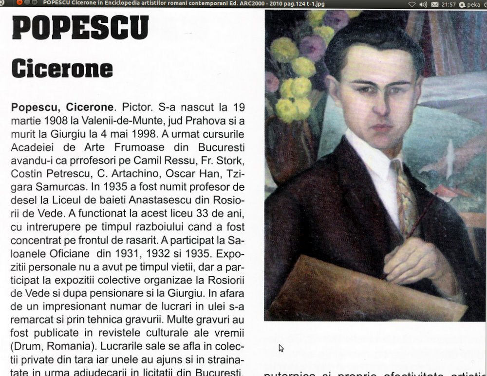 POPESCU Cicerone in Enciclopedia artistilor romani contemporani Ed. ARC2000 - 2010 vol. VI  pag.124 facsimil