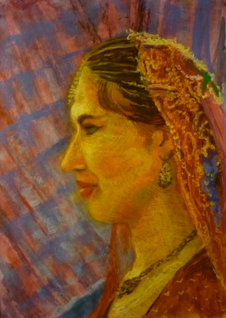 Fata in costum indian,pastel,49x34 cm
