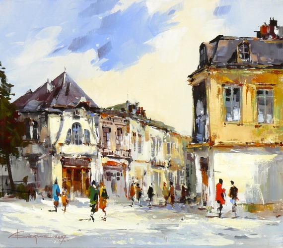Artist Painting Buildings